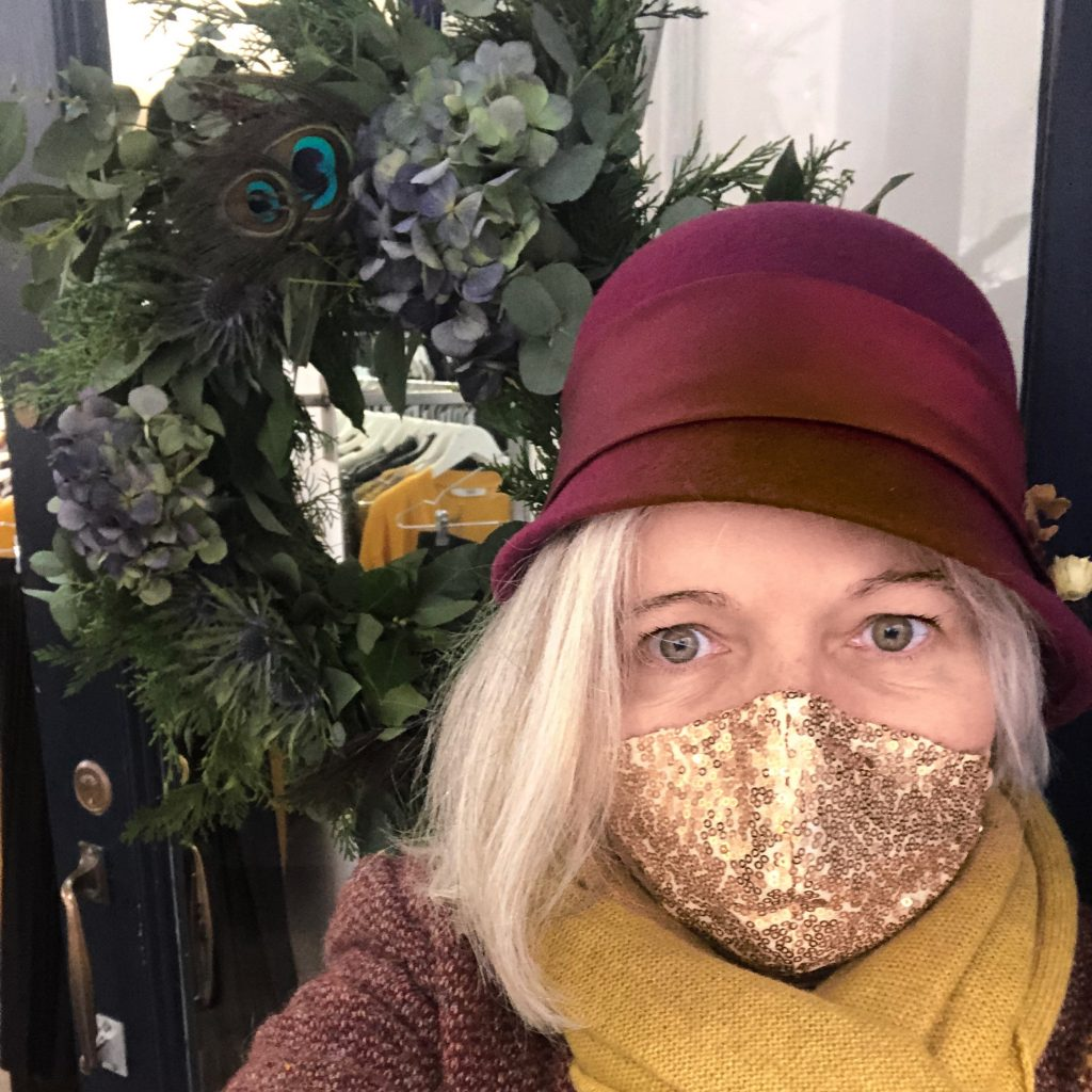Burgundy felt cloche hat and gold sequin mask