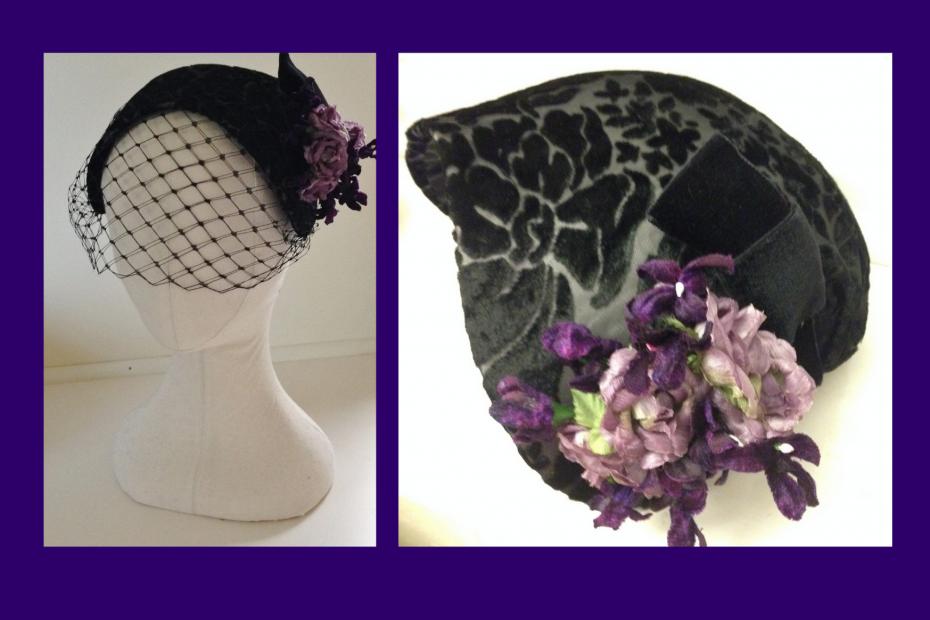 Vintage black 1950s style hat with purple flowers